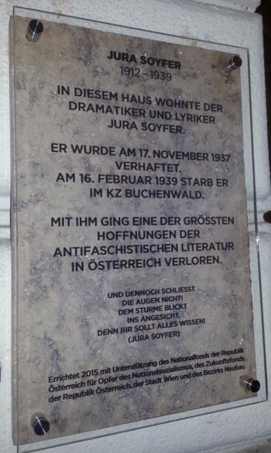 Gedenktafel Wohnhaus Jura Soyfer Lindengasse Wien Geschichte Wiki