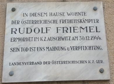 Gedenktafel Rudolf Friemel Wien Geschichte Wiki